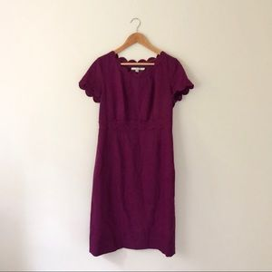 Boden Purple Wool Scalloped Dress